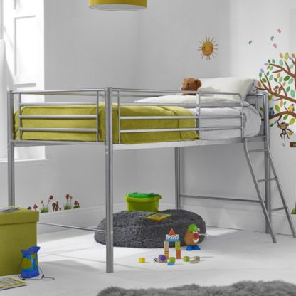 An Image of Saturn Metal Mid Sleeper Bunk Bed In Silver