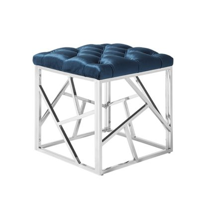 An Image of Allen Stool In Blue Velvet With Polished Stainless Steel Base