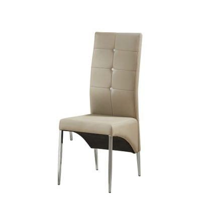 An Image of Vesta Studded Dining Chair In Taupe Faux Leather