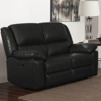 An Image of Toledo Leather And PVC Recliner 2 Seater Sofa In Black