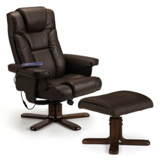 An Image of Malmo Faux Leather Massage Swivel And Recliner Chair In Brown