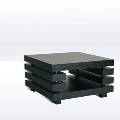 An Image of Layer Lamp Table Square In Black Oak