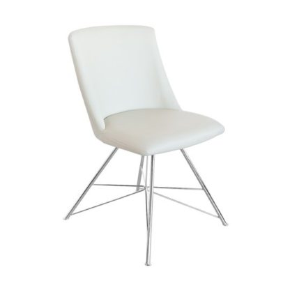 An Image of Bexley Cream Leather Dining Chair With Slick Metal Frame