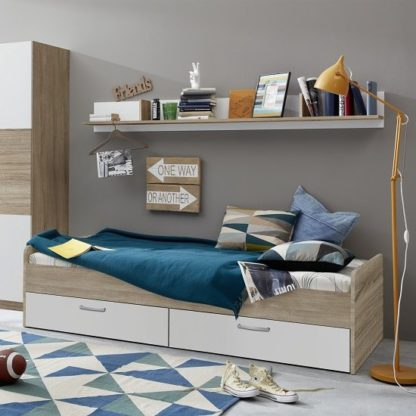 An Image of Rimini Childrens Bed In Sawn Oak And White