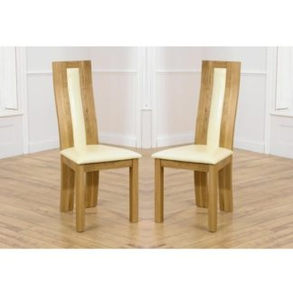 An Image of Marila Dining Chair In Cream PU With Solid Oak Frame In A Pair