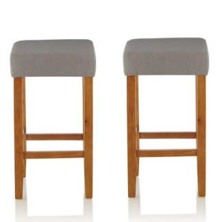 An Image of Newark Bar Stools In Light Grey Fabric And Oak Legs In A Pair