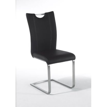 An Image of Pavo Swinging Black Faux Leather Dining Chair With Handle Hole