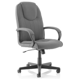 An Image of Lincoln Fabric Executive Office Chair In Charcoal With Arms