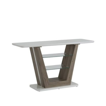 An Image of Cassie Console Table Rectangular In White High Gloss