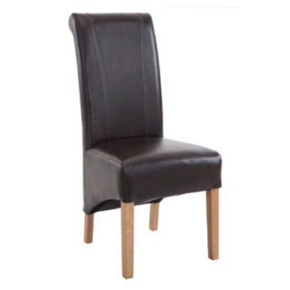 An Image of Logan Leather Dining Chair In Two Tone Brown