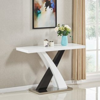 An Image of Axara Console Table Rectangular In White And Black High Gloss