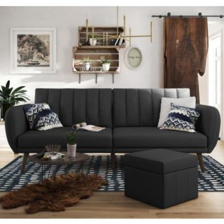 An Image of Brittany Linen Sofa Bed In Dark Grey With Wooden Legs
