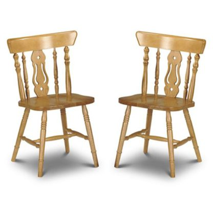 An Image of Yorkshire Honey Lacquered Fiddleback Dining Chairs In Pair