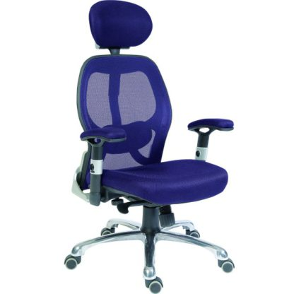 An Image of Hendon Home Office Chair In Blue Mesh With Castors