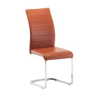 An Image of Ellis Dining Chair In Orange Faux Leather With Chrome Legs