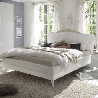 An Image of Lagos Super King Bed In High Gloss White With PU Headboard