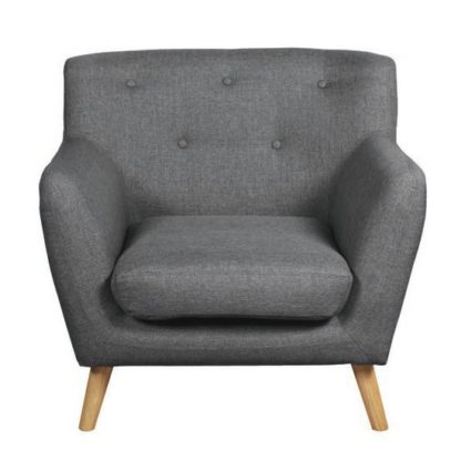 An Image of Lyrae Fabric Lounge Chaise Armchair In Dark Grey