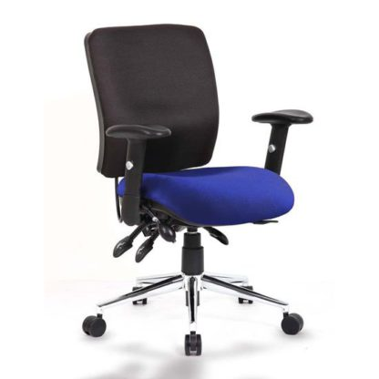 An Image of Chiro Medium Back Office Chair With Stevia Blue Seat