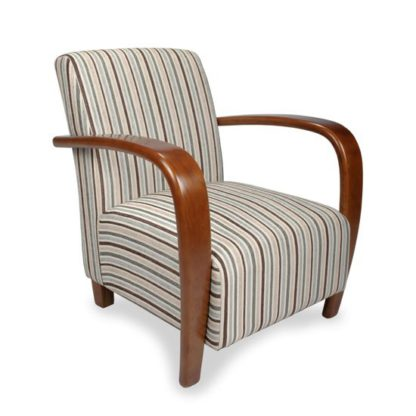 An Image of Restmore Chenille Stripe Armchair In Duck Egg