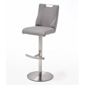An Image of Jiulia Bar Stool In Ice Grey With Stainless Steel Base