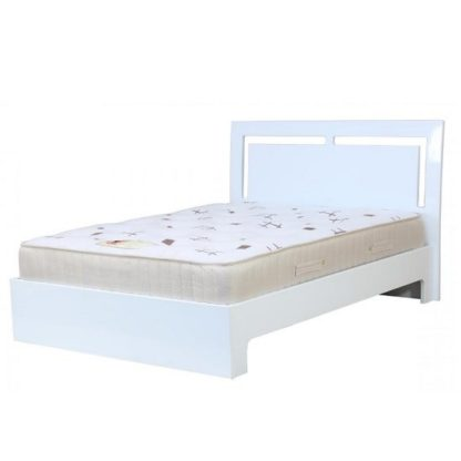 An Image of Amentis Double Bed In White High Gloss