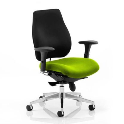 An Image of Chiro Plus Black Back Office Chair With Myrrh Green Seat