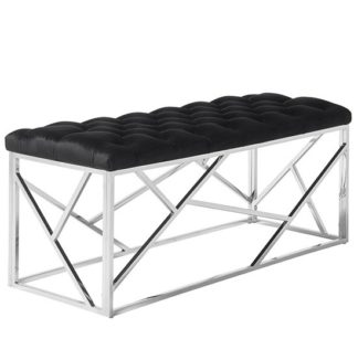 An Image of Allen Bench In Black Velvet With Polished Stainless Steel Base