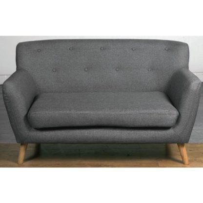 An Image of Lyrae Fabric 2 Seater Sofa In Dark Grey