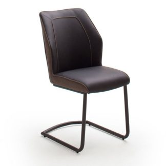 An Image of Aberdeen PU Leather Dining Chair In Brown