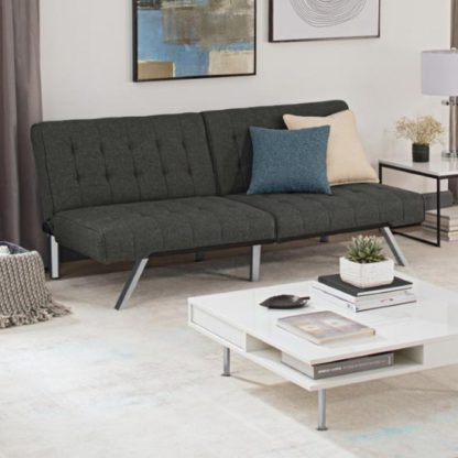 An Image of Emily Faux Leather Convertible Sofa Bed In Linen Grey