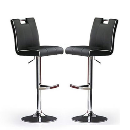 An Image of Casta Bar Stools In Black Faux Leather in A Pair