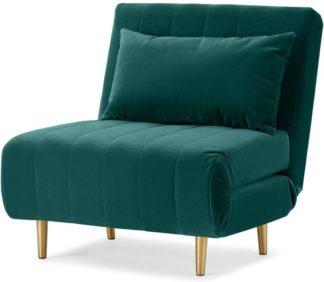 An Image of Bessie Single Sofa Bed, Seafoam Blue Velvet