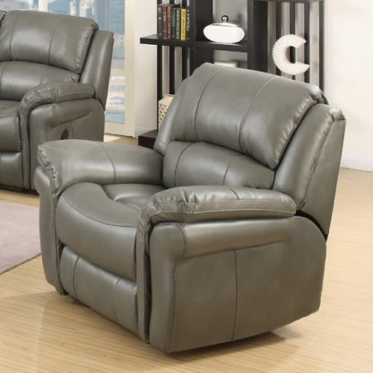 An Image of Claton Recliner Sofa Chair In Grey Faux Leather