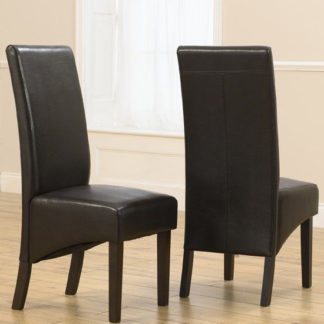 An Image of Tangra Brown Leather Dining Chairs In Pair