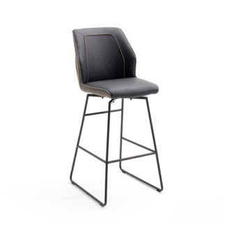 An Image of Aberdeen PU Leather Bar Stool In Brown