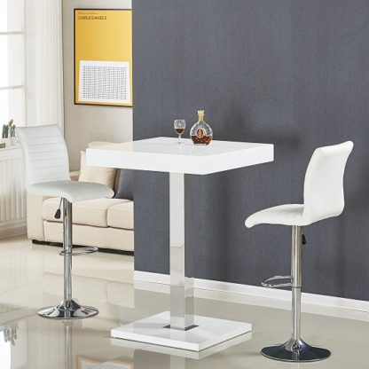 An Image of Topaz Bar Table In White High Gloss With 2 Ripple Stools