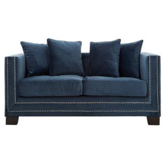 An Image of Pipirima 2 Seater Midnight Velvet Sofa In Blue