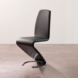 An Image of Swing II Metal Swinging Black Real Leather Dining Chair