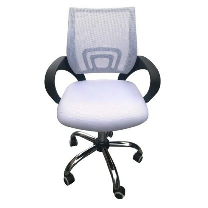 An Image of Regan Home Office Chair In White With Mesh Back And Chrome Base
