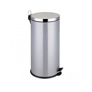 An Image of 30Ltr Pedal Stainless Steel Bin In Silver Finish