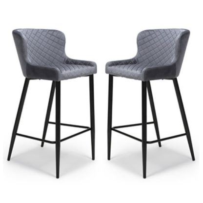 An Image of Malmo Grey Velvet Fabric Bar Stool In Pair With Metal Base