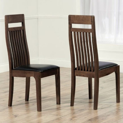 An Image of Pollux Dark Brown Dining Chairs In Pair