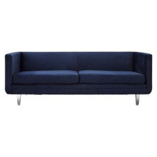 An Image of Arcalis Velvel Three Seater Sofa In Dark Blue Finish