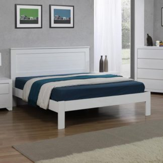 An Image of Etna Wooden Double Bed In White