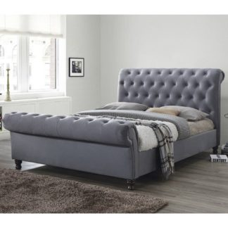 An Image of Balmoral Fabric King Size Bed In Grey With Dark Wooden Feet