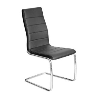 An Image of Svenska Black PU Leather Dining Chair With Chrome Legs