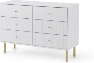 An Image of Hedra Wide Chest of Drawers, Grey & Brass