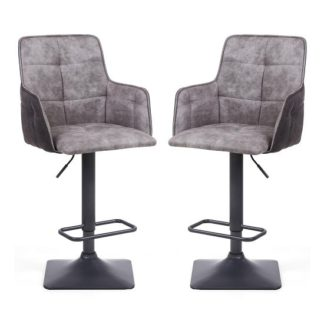 An Image of Guerro Fabric Bar Stools In Light Grey With Square Base In Pair