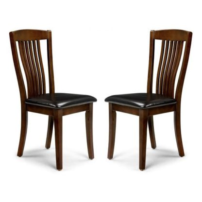 An Image of Chaumont Dining Chair In Mahogany With Brown Seat In A Pair