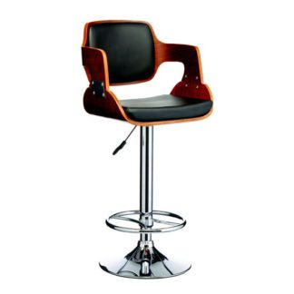 An Image of Maddison Bar Stool In Black And Walnut With Chrome Base
